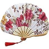 FeiFei66 Fashion Hand Held Fans Silk Bamboo Folding Fans Handheld Folded Fan for Church Wedding