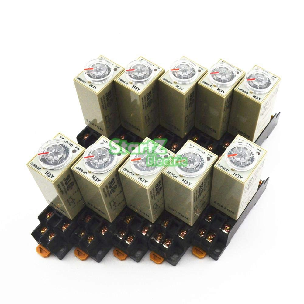 AmzStarz - 10Pcs H3Y-2 DC 24V Delay Timer Time Relay 0-10S with Base