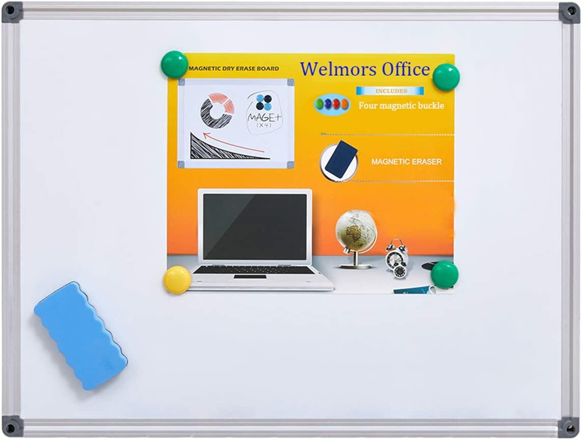 Welmors Office Magnetic White Board, Small Dry Erase Board 12'' x 16'', Aluminium Frame White Board with 4 Magnets, 1 Eraser. (12x16 inch)