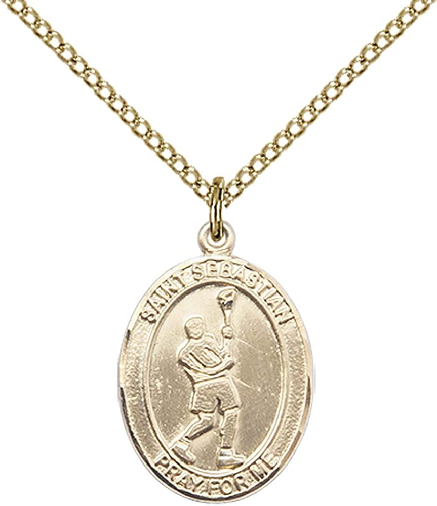 Patron Saint of Athletes//Soldiers Sebastian//Lacrosse Pendant with 18 Gold Filled Lite Curb Chain F A Dumont 14kt Gold Filled St