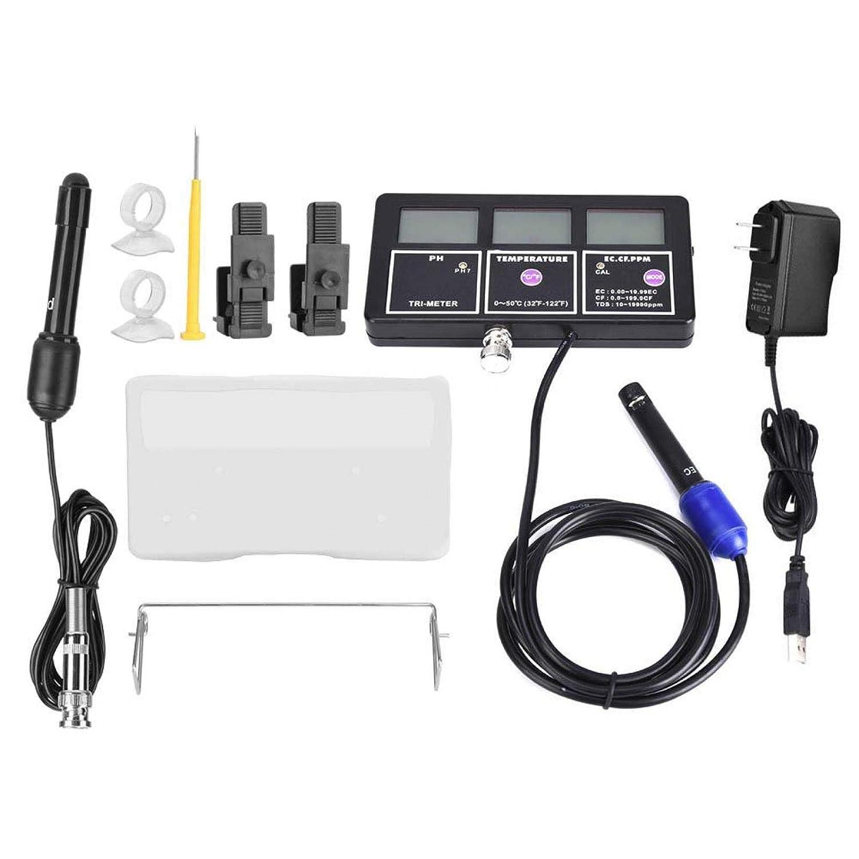 Medidor de PH, PH-116 Probador de calidad del agua Monitor Medidor de pH Medidor multiparámetro para prueba PH/Temperatura/EC/CF/MV/TDS con manual de instrucciones(US Plug)