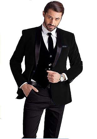 13c2f2d0ddf JYDress Mens Slim Fit Shawl Lapel Wedding Suits Groom Tuxedos Jacket Vest  Pants at Amazon Men s Clothing store