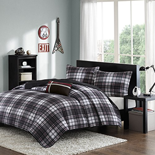 Mi-Zone Harley Twin/Twin XL Size Teen Boys Quilt Bedding Set - Black, Plaid – 3 Piece Boys Bedding Quilt Coverlets – extremely tender Microfiber Bed Quilts Quilted Coverlet