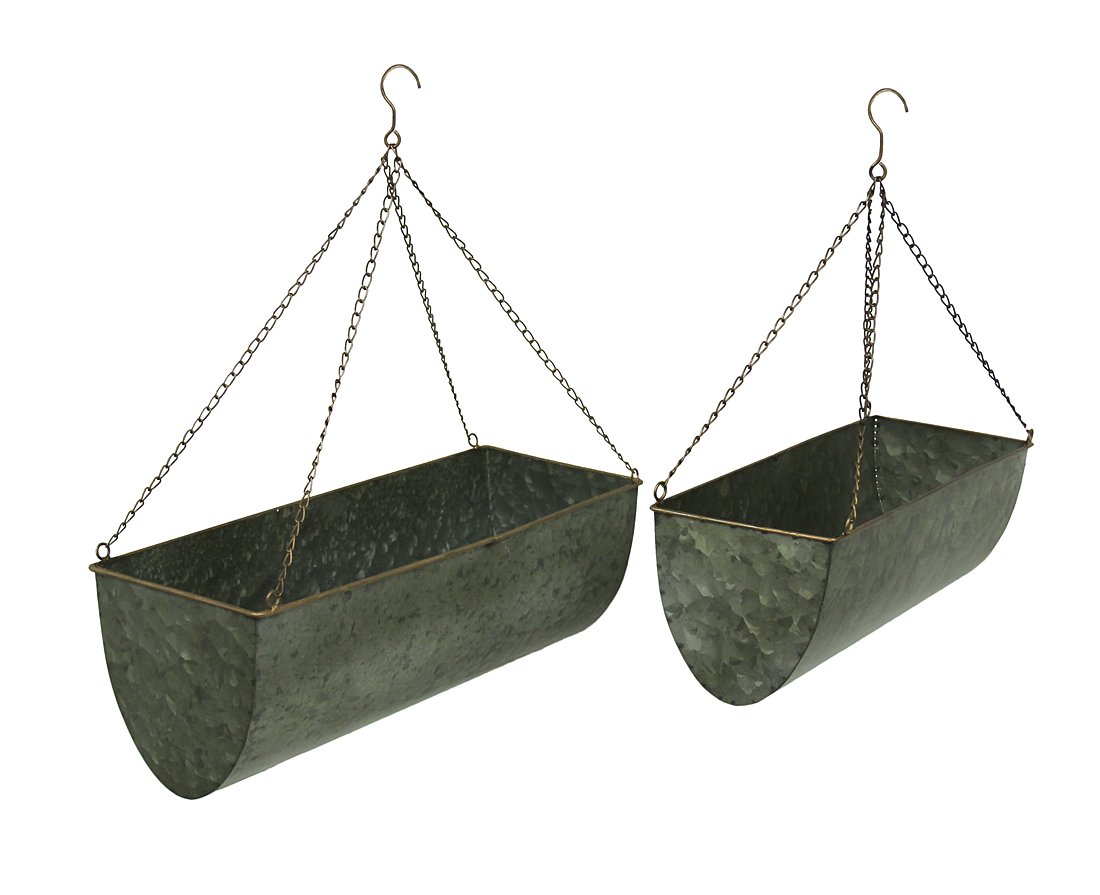 Galvanized Metal Set of 2 Indoor Outdoor Hanging Planters
