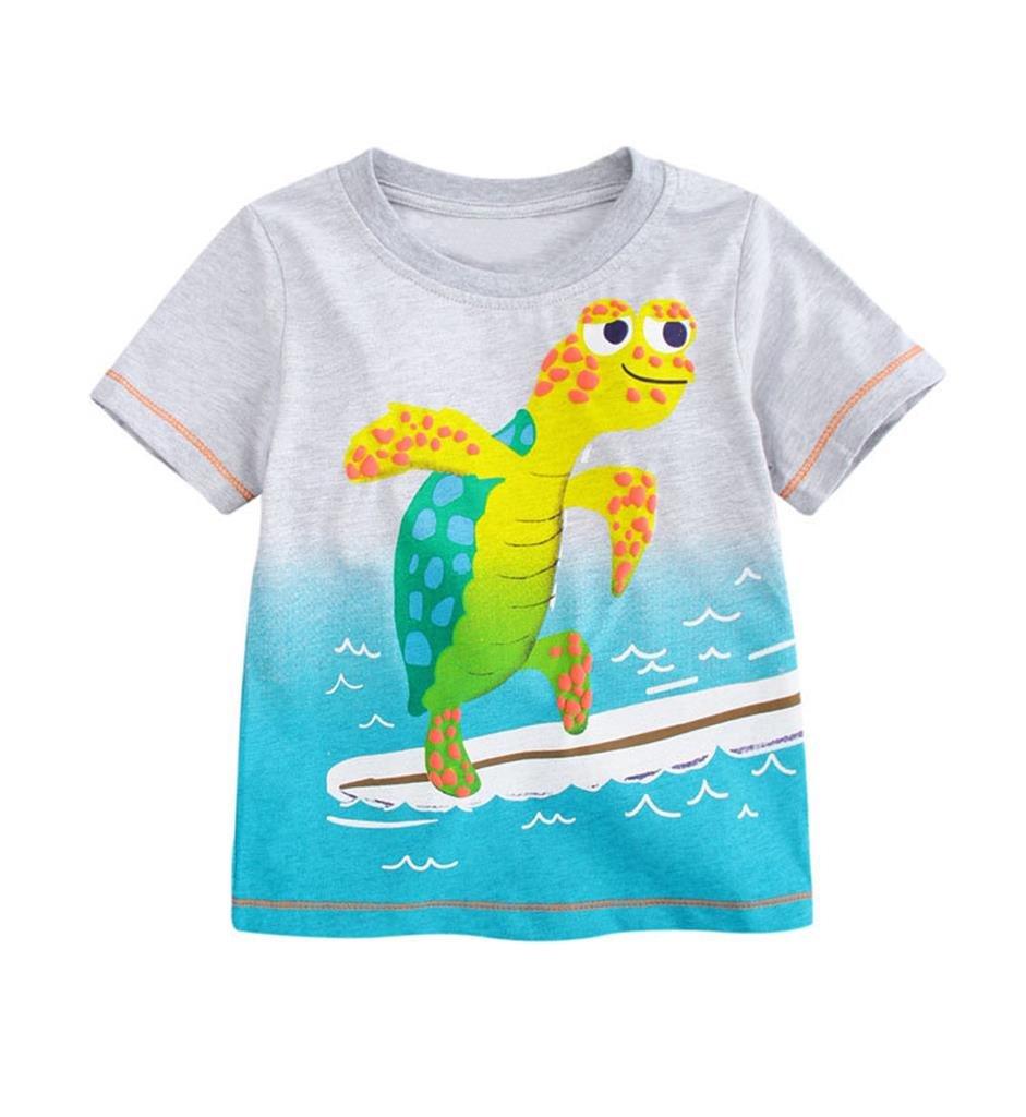 Gotend Little Boys Girls Tops Short Sleeve T-Shirt Tees(Tortoise,18-24M,Grey)