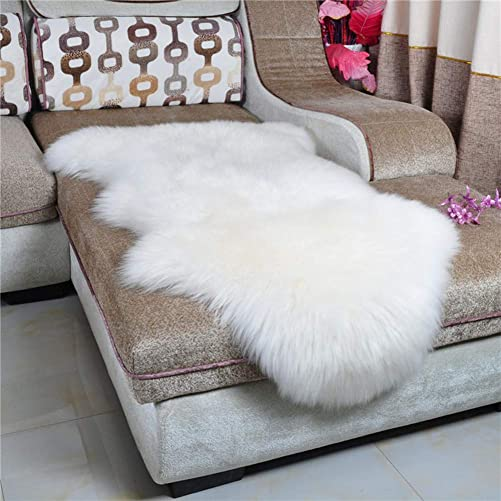 HEBE Faux Fur Sheepskin Rug Runner 2 x4 Soft Sheepskin Fur Chair Couch Cover White Sheepskin Area Throw Rug Runner for Bedroom Kids Living Room