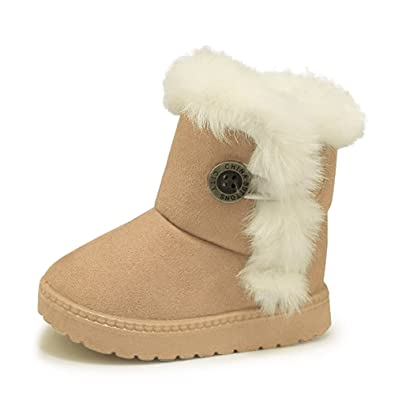 ee9427785cecf AARDIMI Bottes de Neige pour Enfant Chaud Hiver Chaussures Fille Bébé Fourrure  Doublé Antidérapant Sole Souple