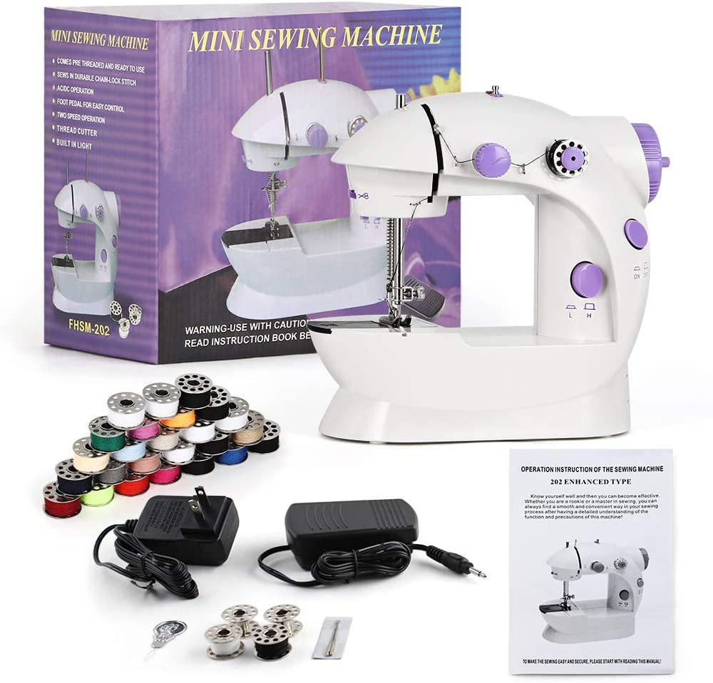 Mini Portable Sewing Machine Handheld Electric Sewing Machines with 25 Pieces Sewing Thread Bobbins Set Adjustable 2-Speed Sewing Machine for Kids Beginner and Home, Easy to Use, Purple