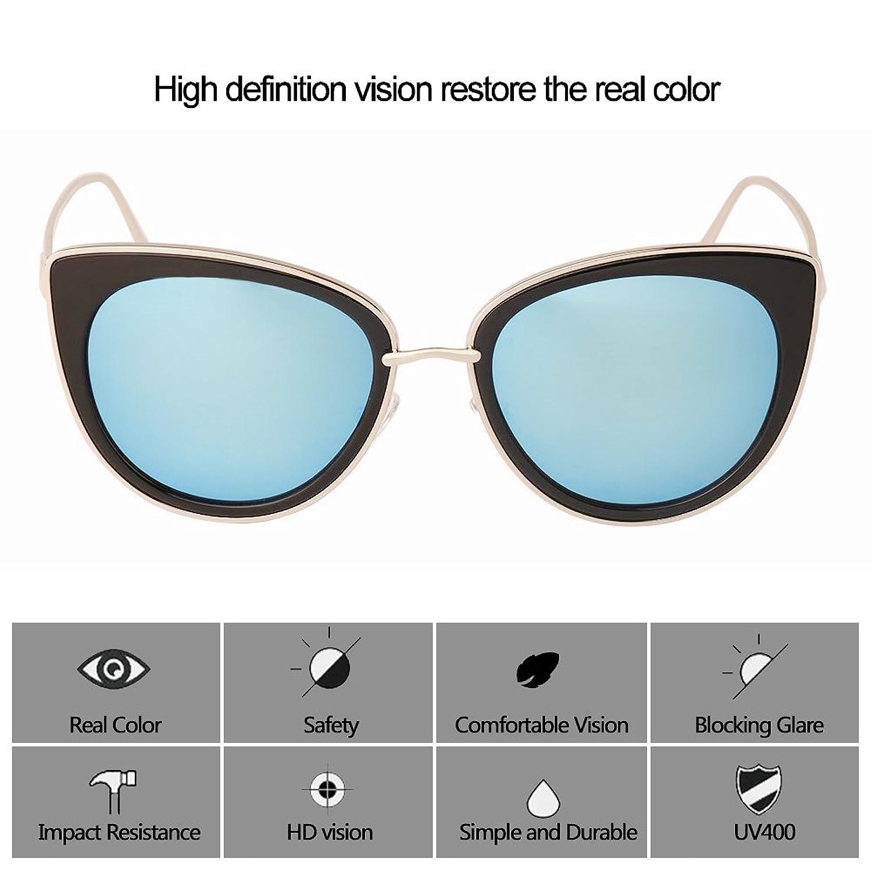 Amazon.com: TrendyMate Women Metal Cute Cat Eye Sunglasses Mirror ...