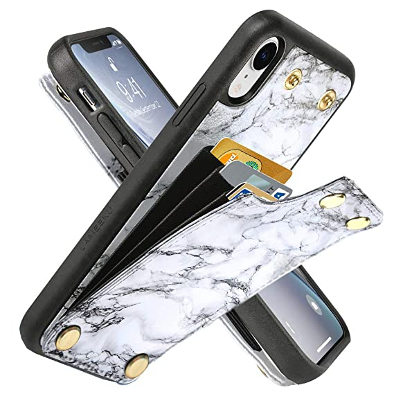 iphone xr wallet case marble