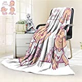 Microfiber Fleece Comfy All Season Super Soft Cozy Blanket set with cute little baby girl with curly hair wearing bow pink tutu portrait for Bed Couch and Gift Blankets(90''x 70'')