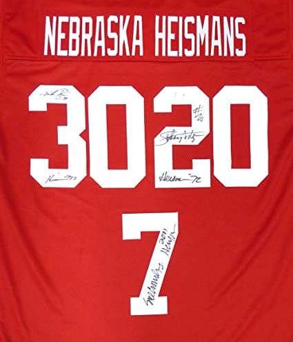 a7eb10309 Nebraska Cornhuskers Heisman Winners Autographed Red Jersey With 3  Signatures Including Mike Rozier