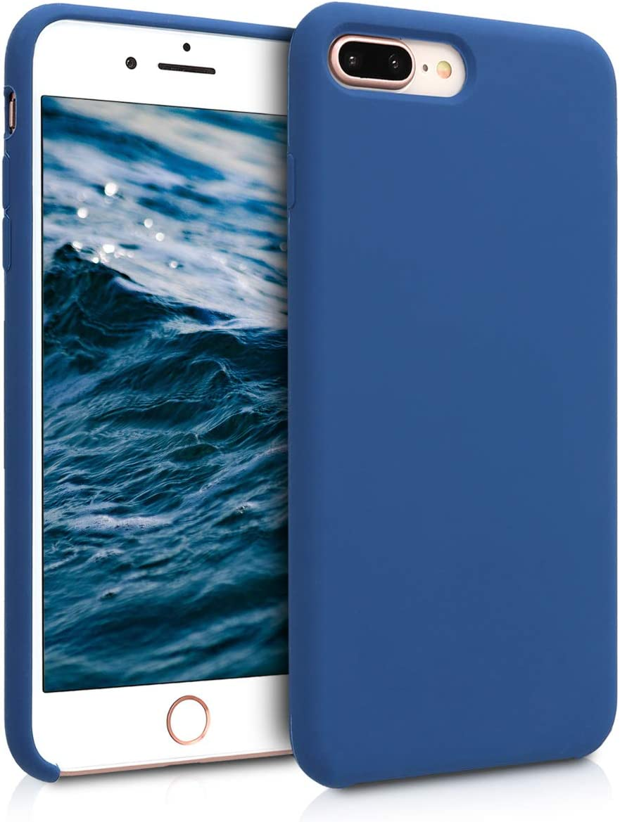 kwmobile TPU Silicone Case Compatible with Apple iPhone 7 Plus / 8 Plus - Soft Flexible Rubber Protective Cover - Navy Blue