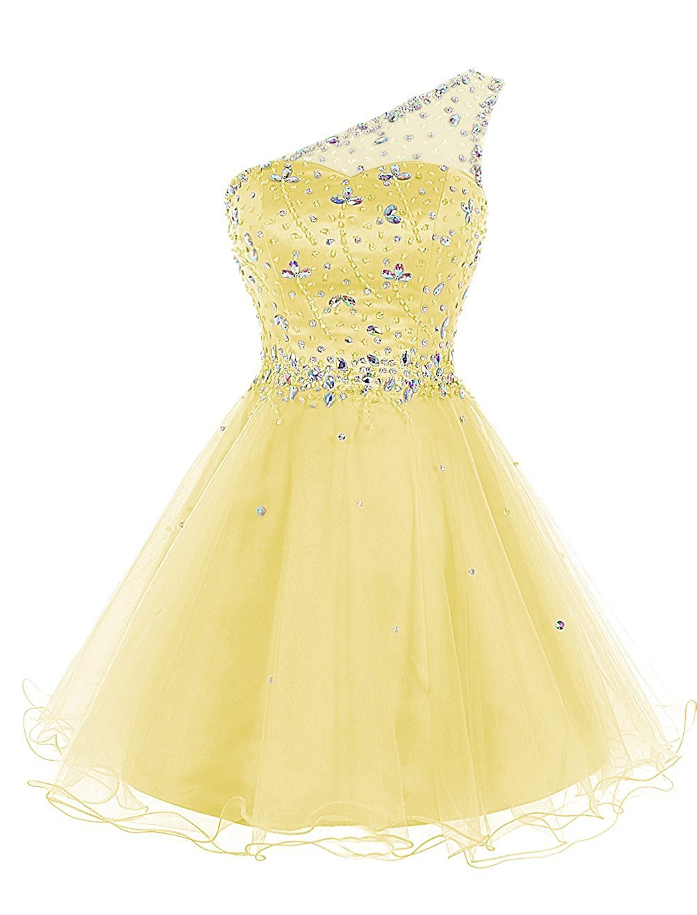 Yellow Women's Short One Shoulder Beaded Aline Homecoming Cocktail Dress Fuchsia US2