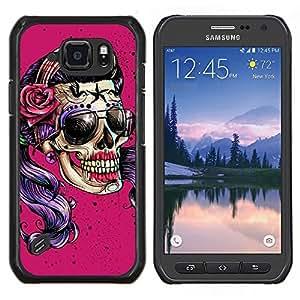 TECHCASE---Cubierta de la caja de protección para la piel dura ** Samsung Galaxy S6 Active G890A ** --Rosa Púrpura Sombras Chica Biker Mujer
