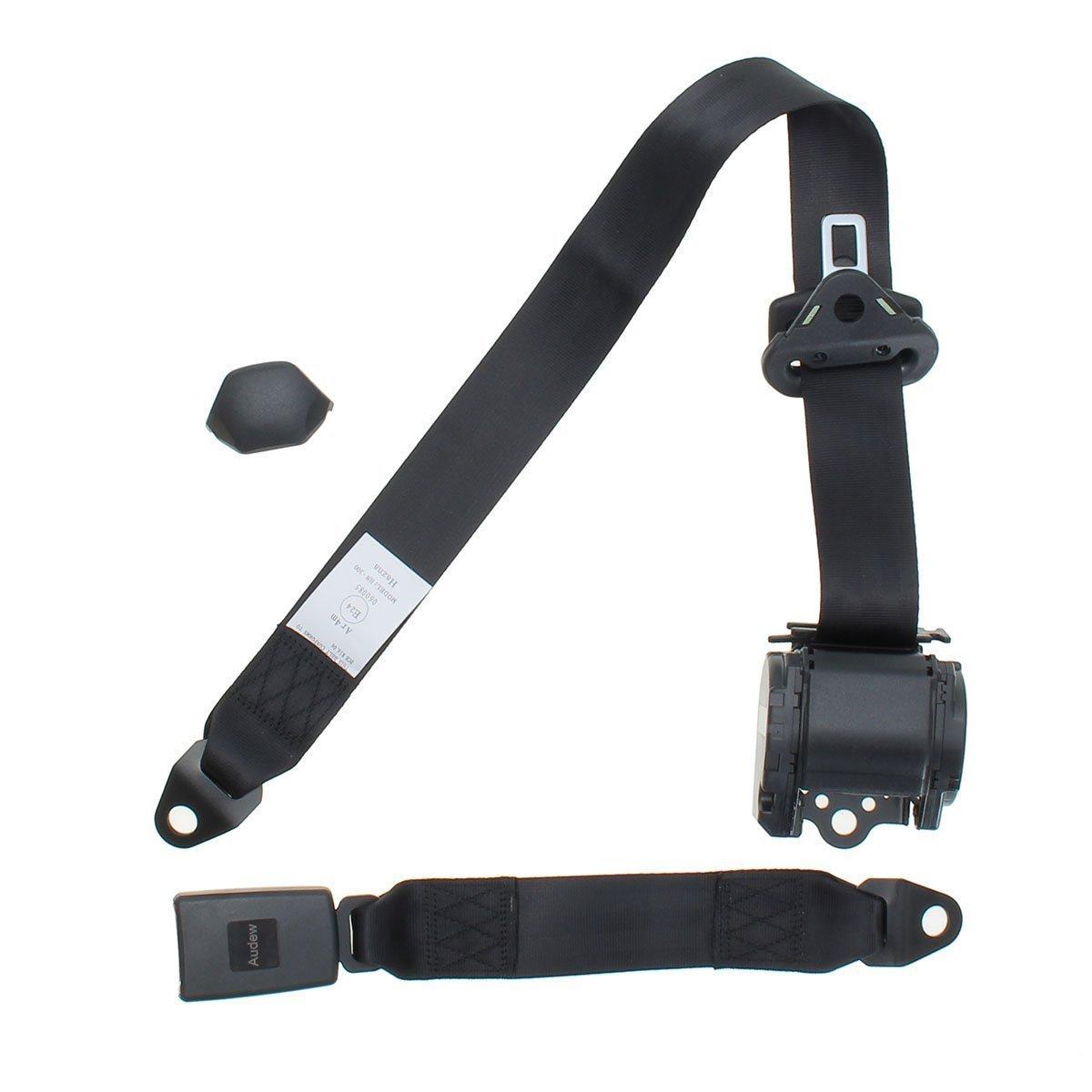 Cintura di sicurezza universale retrattile a 3 punti UKNANY per tutte le auto colore nero