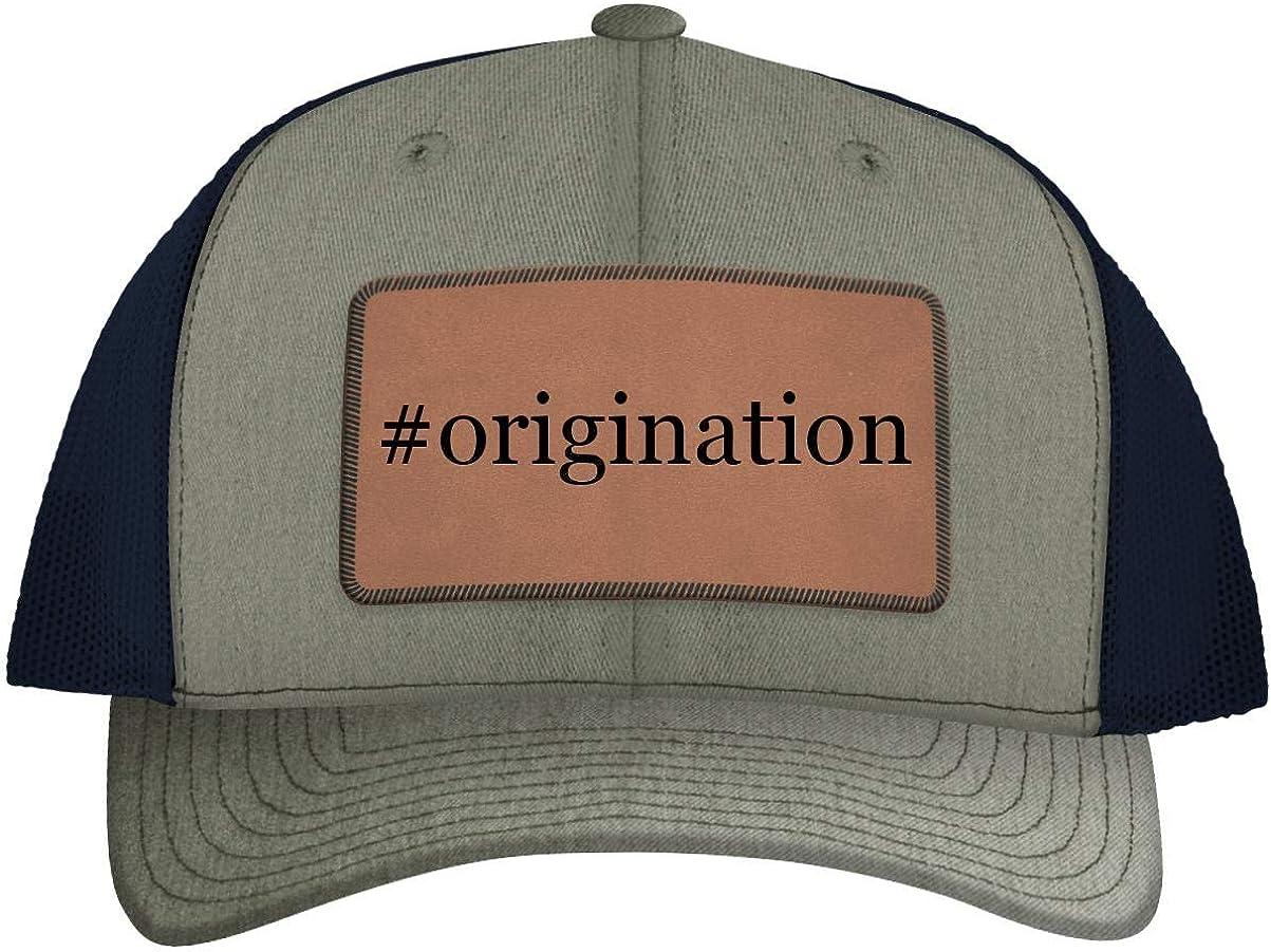 Hashtag Leather Dark Brown Patch Engraved Trucker Hat One Legging it Around #Origination