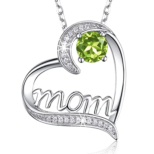 July August Birthstone Ruby Peridot Necklace Birthday Gifts Mom Sterling Silver I Love You Mom Love Heart Jewelry for Women 20 Chain