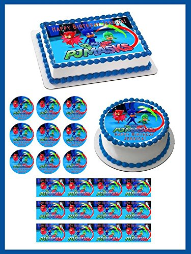 "PJ MASKS (2) - Edible Cupcake Toppers - 1.8"" cupcake (20 pieces"