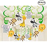 30 Ct Jungle Animals Hanging Swirl Decorations for Forest Theme Birthday Wedding Party Festival Party