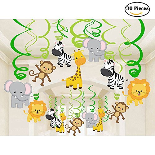 Zoo Colorful Animal - 30 Ct Jungle Animals Hanging Swirl Decorations for Forest Theme Birthday Baby Shower Festival Party