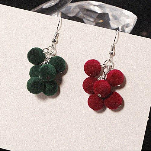 Korea earrings new winter wool hand-made sweet and lovely plush ball beaded grapes earrings ear hook female temperament