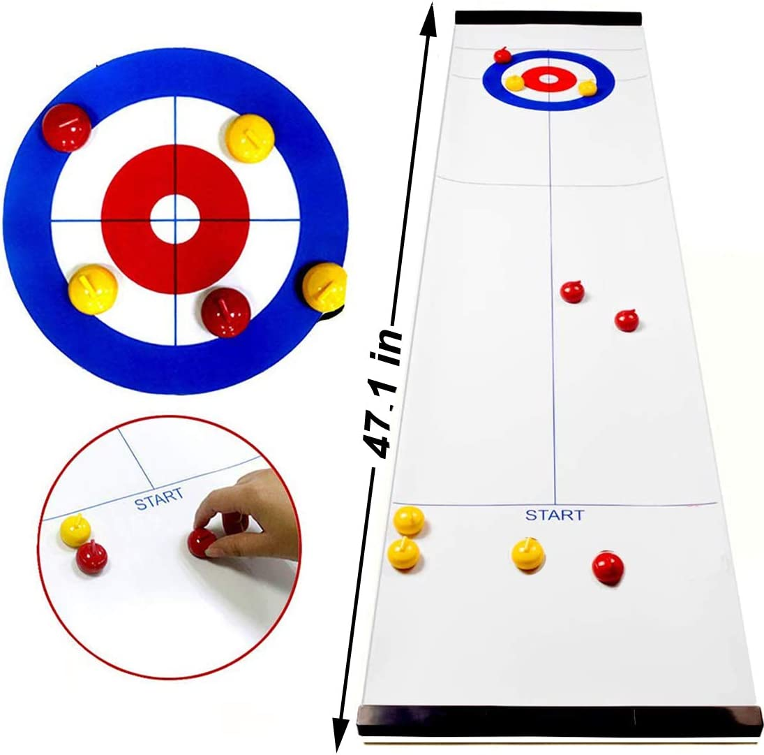 PikDos Family Table Top Curling Games for Kids and Adults Fun Board Game Shuffleboard Pucks with 8 Rollers Travel Compact Storage