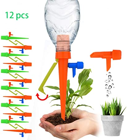 Automatic Vacation Drip Watering Bulbs Globes Stakes System For Indoor /& Outdoor Plants Plant Waterer Self Watering Spikes 12 pack Plant Watering Devices With Slow Release Control Valve Switch