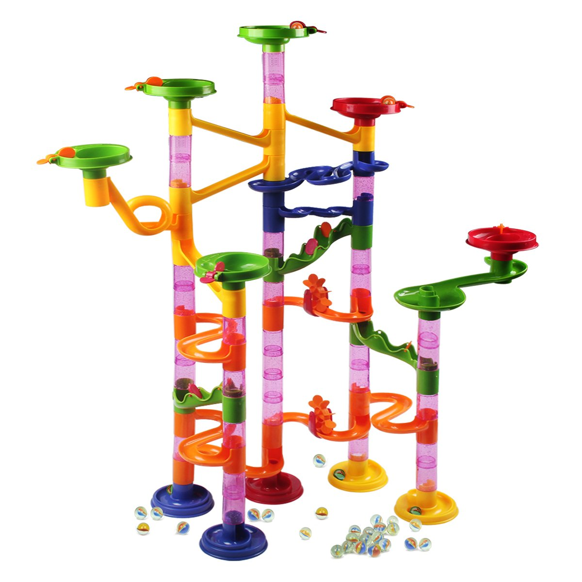Marble Runs Toy Set,AMOSTING Marble Run Railway Maze Toys Construction Child Building Blocks Toys with Glass Marbles,105 Pieces Ball Race Game Review