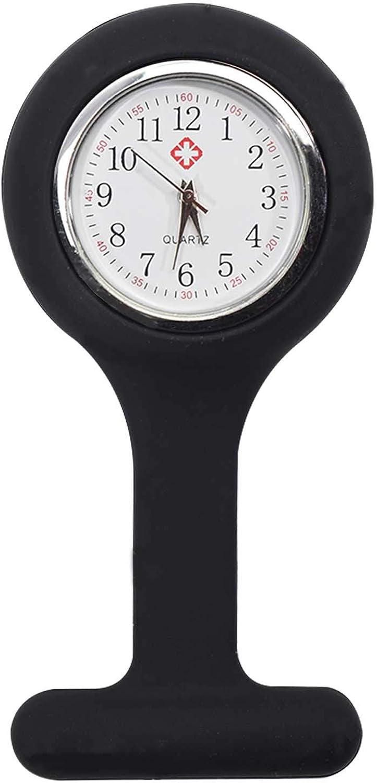 TRIXES Reloj de Bolsillo Enfermera de Silicona con Broche - Negro