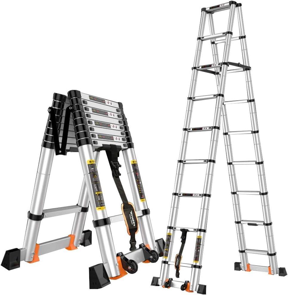 ZR- Escalera Telescópica Portátil Aluminio Extensible Extensión Escaleras De Escalones Plegables Bajo Techo, En Exteriores Capacidad De Carga De 330 Lbs -Fácil de almacenar y fácil de llevar: Amazon.es: Hogar