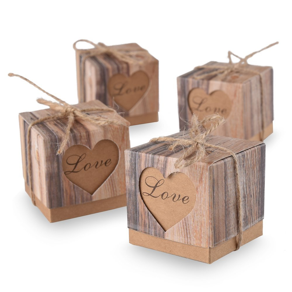 Doshop 50pcs Cute LOVE Heart Candy Favor Boxes Vintage Kraft Bonbonniere + 50pcs Burlap Twine,Gift Box Bag for Wedding Party Birthday Bridal Shower Decoration-5cm x 5cm x 5cm (Brown)