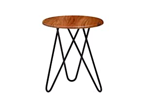 Khati Solid Wood and Iron Bed Side Table & Stool Natural