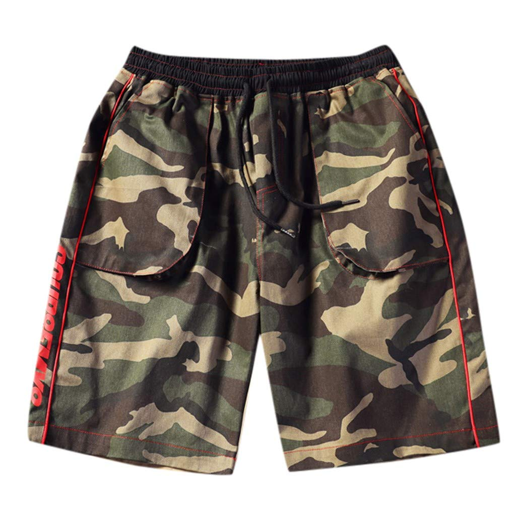Tomppy Men's Cargo Shorts Casual Cotton Elastic Waist Drawnstring Camo Straight Outdoor Athletic Pocket Short Pants Trouser (XXXXXL, Camouflage)