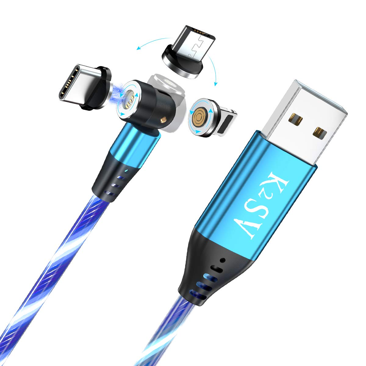 K2SV Luminous Magnetic Charging Cable 540° Rotation Magnetic Flowing Phone Charger Cable, 3A Fast Charge with Data Transfer, Magnetic Cable Compatible with Any Devices (Blue)