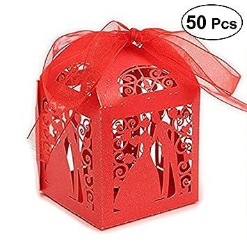 ULTNICE 50 Stück Geschenkbox,Bräutigam Braut Muster ...