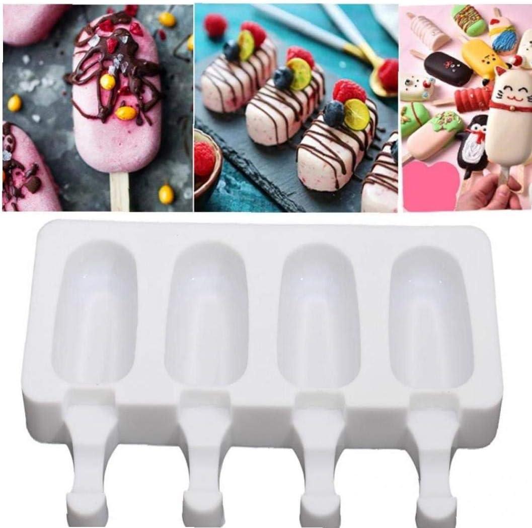 Amoyer De Silicona del Helado del Molde Mousse de Caramelo Congelador Molde de Madera Hecho a Mano Jugo Yogurt Popsicle del Cubo de Hielo Fabricante de Palo