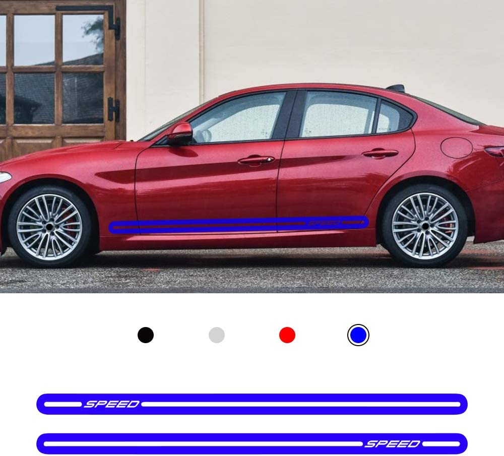 carado Racing Body Side Stripe Skirt Roof Hood Decal Sticker for ALFA Romeo Giulia Mito Spide Vinyl Sport Badge Car Styling Accessories Blue 1 Pair