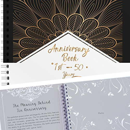 Wedding Album - A Hardcover Wedding Memory Book To Document Wedding Anniversaries From The 1st To 50th Year! Unique Couple Gifts For Him & Her - Personalized Marriage Presents For Husband & Wife!