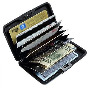 Aluminum RFID Blocking Wallet Credit Card Holder Metal Hard Card Case (B Water Drops)
