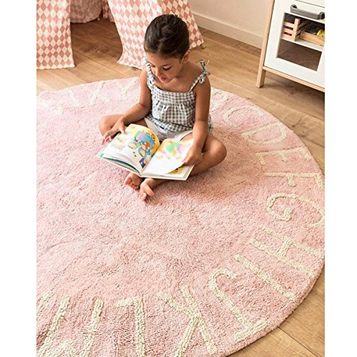 Habudda Warm Soft Cotton Luxury Plush Baby Crawling Rugs Educational ABC Alphabet Area Rugs Kids Teepee Tent Game Play House Round 1.2 meters 47.24 inch Diameter (Pale Pink)
