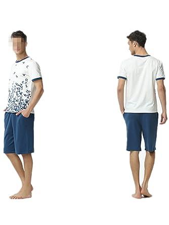 95551e0b739f Wigeo Summer Brand Homewear Men Casual Print Pajama Sets Male Soft Cotton  Sleepwear Suit Men's O
