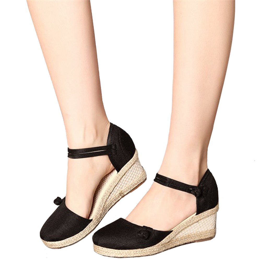 Yu He Women's Casual Wedge Sandals Shoes Ankle Strap Closed Toe Espadrille Platform Wedge B07FGFHRCP 8.5B锛圡锛塙S|Black