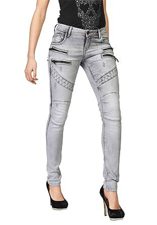 dc5a7d1e91b564 Cipo & Baxx Damen Jeans Jeanshose Bikerjeans: Amazon.de: Bekleidung