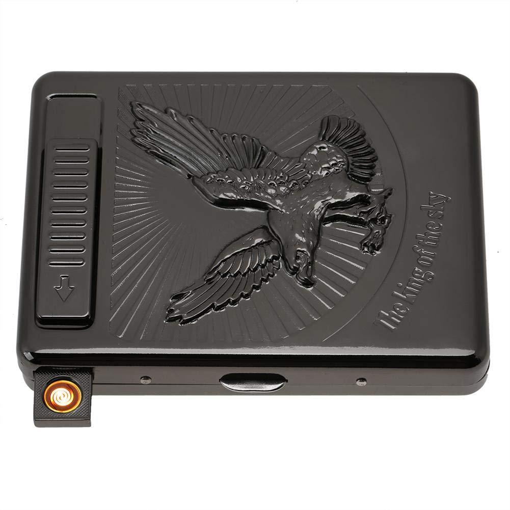 2 en 1 caja de cigarrillos de metal con encendedor recargable usb cigarrillo el/éctrico encendedor 20 caja de cigarrillos regular para regalos de cumplea/ños Black Eagle