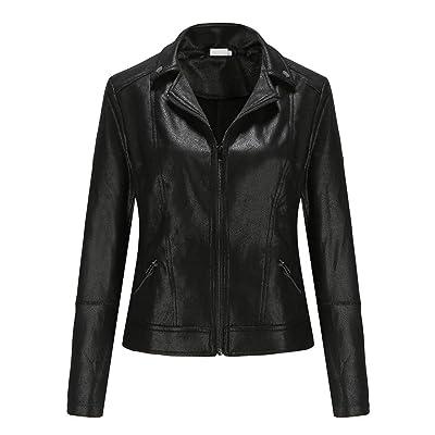 ALIZIWAY Faux Leather Jacket for Women Short Moto Biker Jacket Casual Coat at Women's Coats Shop