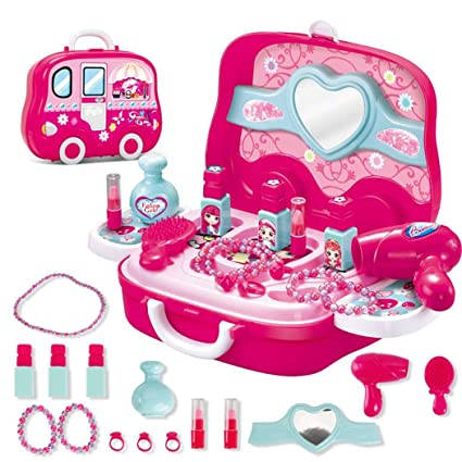 b965a7f70 Girls Pretend Makeup Set Pretend Dressing Table Princess Beauty Salon Toy  Cosmetic Set for Toddlers Kids