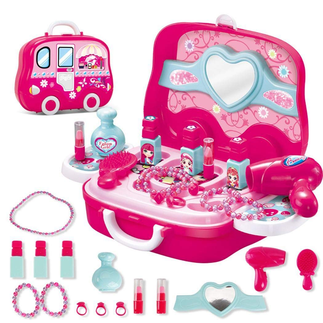 Girls Make Up Toy Cosmetic Set/20Pcs, Play Vanity Dressing Table Pretend Case Fashion Beauty Salon Cosmetic Palette with Hair Dryer Mirror Scissors Hair Brush Girls Gift