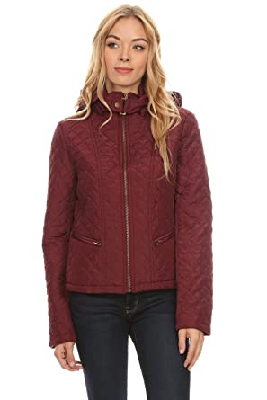 25a47ed8ff72 Ambiance Apparel Woman's Quilted Hooded Zip Up Puffer Jacket at Amazon  Women's Coats Shop