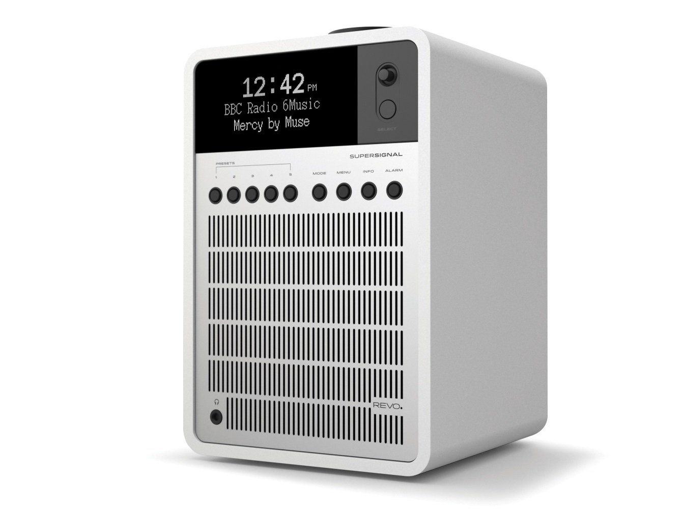 REVO SuperSignal Deluxe Radio with DAB/DAB+/FM Reception, Digital Alarm and Bluetooth Wireless Streaming - Matte White/Silver